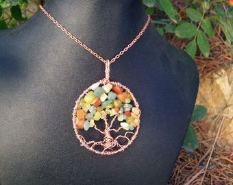 Autumn Tree of Life necklace - Copper and Semi Precious stones in Fall Colors - Including Yellow Opal