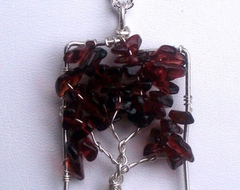 Garnet tree of life necklace pendant - january birthstone - sterling silver tree of life - chakra grounding - rectangle - garnet pendant