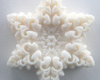 Snowflake Soap - white soap - soap - winter soap - Christmas soap - Peppermint Soap - Stocking Stuffer Soap - Gift soap - Holiday