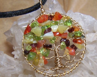 Autumn Tree of Life necklace pendant - Fall Tree of Life pendant - Red Brass warm gold, peridot, Carnelian, Citrine, Garnet, Opal, circle