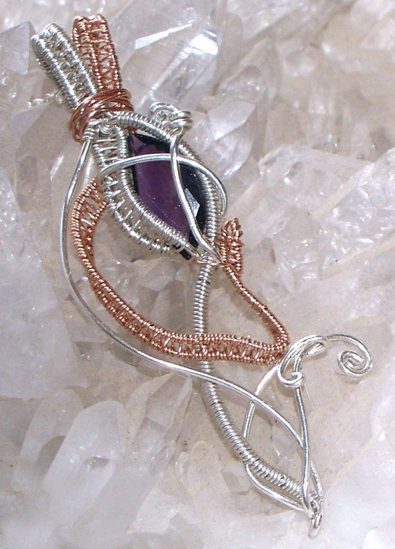 Amethyst Necklace- Faceted Amethyst, Rose Gold, Sterling Silver in a tribal looking wire wrap design - Sterling Silver Figaro Chain