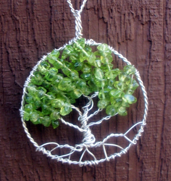 Tree of Life pendant - Sterling Silver and Peridot - Tree of life necklace - August Birthstone - green gemstone Peridot  tree of life