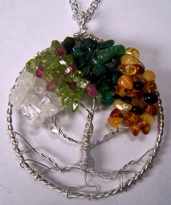 Celtic Tree of Life pendant Four Season necklace Winter Spring Summer Autumn Fall Moonstone Quartz Crystal Peridot  Emerald Baltic Amber