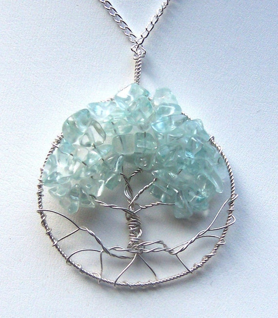 Aquamarine gemstone and sterling silver tree of life necklace for Handley rock jewelry supply vancouver wa