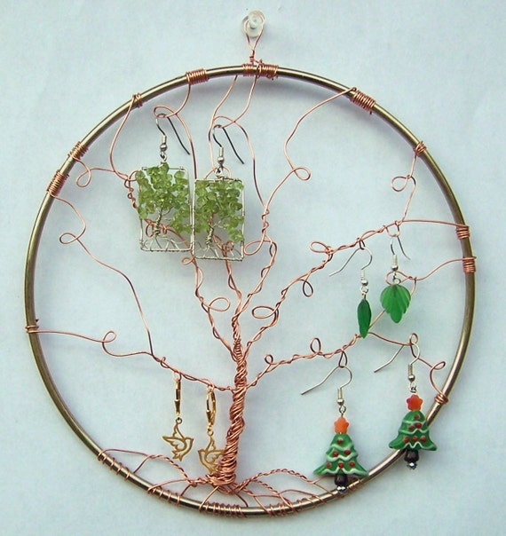 Earring Display - Tree of Life - Wall hanging - Earring Holder - Jewelry Display - Copper and Brass - Wall art - Home decor - Sculpture -