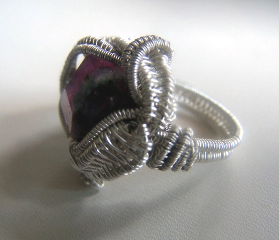 Watermelon Tourmaline Ring - Watermelon Tourmaline Crystal faceted Gemstone - wire wrap wire wrapped ring - Sterling SIlver size 7.5
