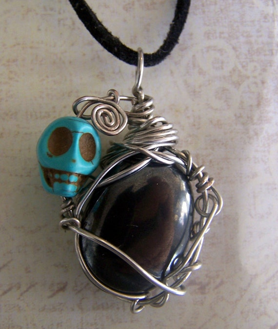 Sugar Skull necklace - Hematite wire wrap pendant - Turquoise stone skull bead jewelry -- Day of the dead - Nightmare before Christmas