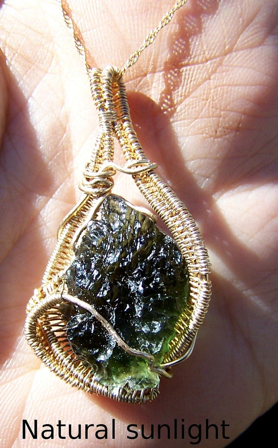 Moldavite - Moldavite necklace - Moldavite Pendant - wire wrap - crystal gem mineral - natural genuine Moldavite specimen - Gold Fill