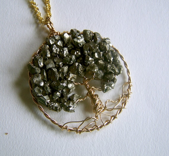 Pyrite Tree of Life necklace pendant - Pyrite Druzy- Gold Fill necklace - Mandalarain - wire wrapped Tree of Life