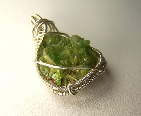 Pyromorphite crystal  necklace pendant - Sterling Silver wire wrap - natural Pyromorphite cluster  - crystal gem mineral - bright green