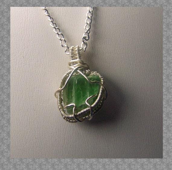 Hiddenite necklace pendant - Sterling Silver wire wrap - natural genuine Green Kunzite -  crystal gem mineral - spudomene