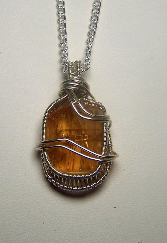 orange topaz necklace pendant sterling silver wire