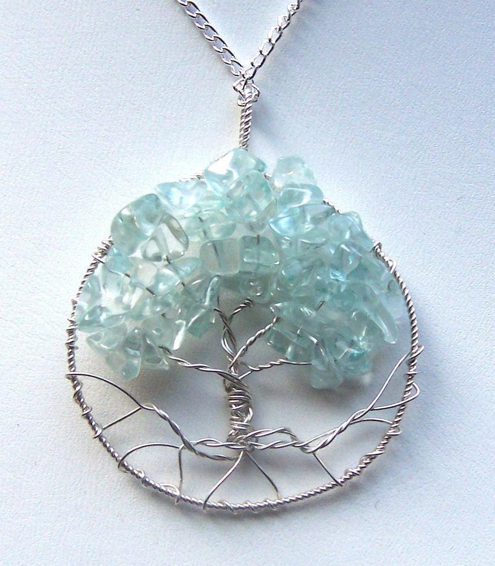 Aquamarine Necklaces: Aquamarine Gemstone And Sterling Silver Tree Of Life Necklace