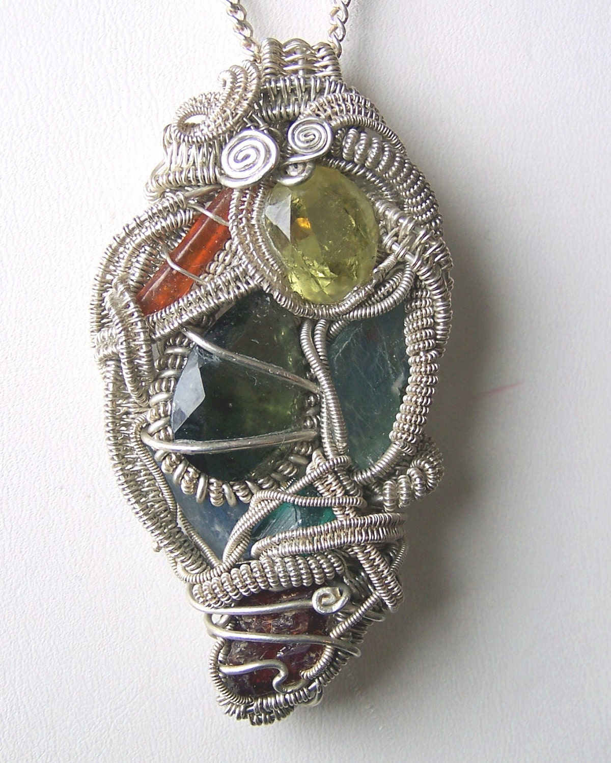 Crystal Wire Wrap Pendant Necklace Faceted By Mandalarain