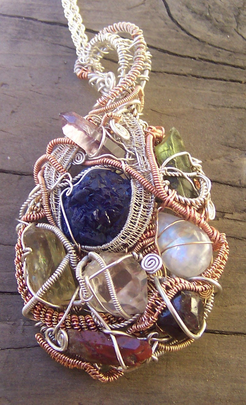 Crystal Gem And Mineral Wire Wrap Necklace Azurite