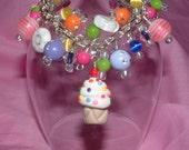 SALE BOUTIQUE SWEET CUPCAKE FRINGE CHARM BRACELET YUMMY SPRINKLES BIRTHDAY PARTY