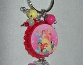 Glass beads bottlecap pendant charm Princess Snow White Cinderella Belle Ariel Jasmine Sleeping Beauty