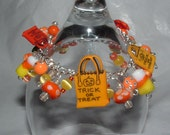 BLOWOUT SALE TRICK OR TREAT HALLOWEEN HAND BLOWN GLASS BEADS FRINGE BRACELET PUMPKINS CANDY CORN READY TO SHIP