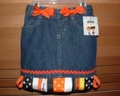 BOO HALLOWEEN RIBBON SKIRT SKORT OR JEANS YOU CHOOSE I DESIGN FREE PERSONALIZED BOTTLECAP NECKLACE WITH PURCHASE