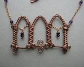 Gothic Triple Archway Woven Copper Necklace, Purple Crystals - by Silver Owl Creations