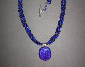 Blue/purple dichroic glass, spiral stitch beadwoven necklace
