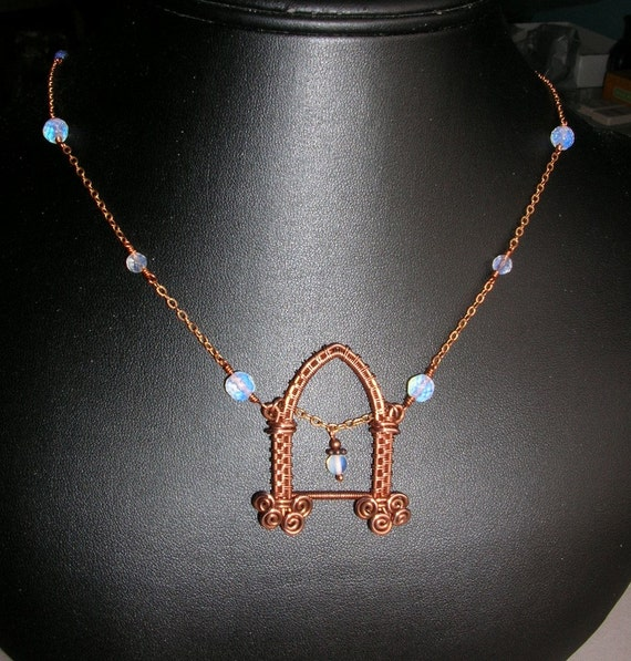 Copper Wire Gothic Archway Necklace, Woven Wire Medieval/Renaissance Architecture with Opalite Beads