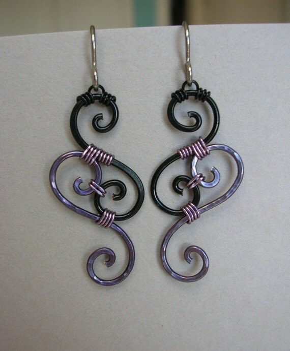 Wire Earrings -- Black and Pale Violet Swirl Wire Wrapped Filigree Earrings