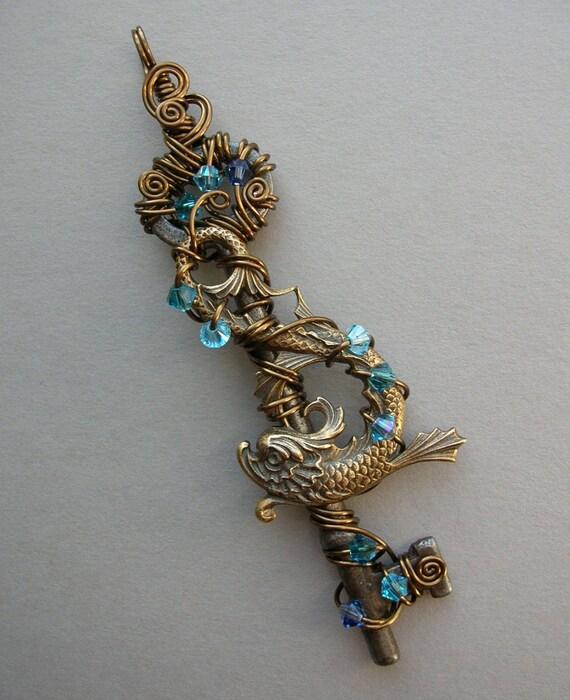 Blue Jeweled Antiqued Brass Fish Key Pendant, Vintage Bronze Wire