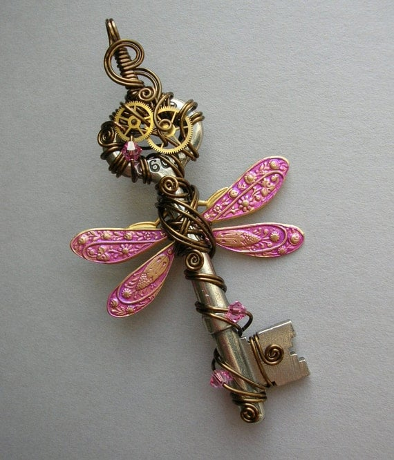 Pink Dragonfly Key Pendant -- Steampunk Dragonfly Wire Wrapped Winged Clockwork Key with Gears, Swarovski Crystals (A Key to Time)