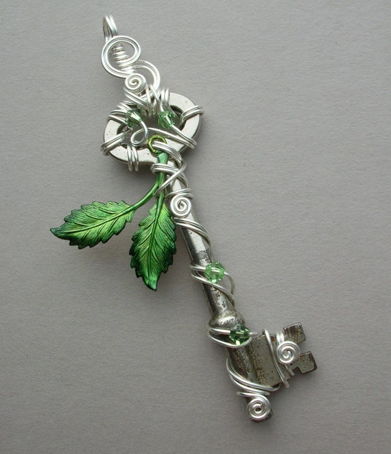 Spring Leaves Key Pendant -- Green Inked Birch Leaves Silver Wire Wrapped Key with Swarovski Crystals