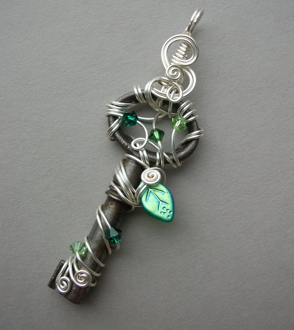 Wire Wrapped Key Pendant Fairy Jewelry Silver Wire