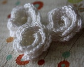 Crochet Scrapbooking and Applique Flowers White Rose 3 peices