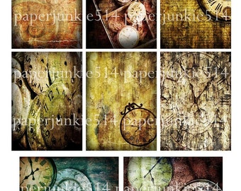 Digital Collage Sheet 7 - Grungy Clocks - ACEO, ATC - Buy Any 3 Three Dollar DIigital Items Get 1 Free