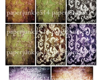 Digital Collage Sheet 9 - Grungy Vintage Wallpaper Designs - ACEO, ATC - Buy Any 3 Three Dollar DIigital Items Get 1 Free
