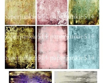 Digital Collage Sheet - Grungy Backgrounds 2 - ACEO, ATC - Buy Any 3 Three Dollar DIigital Items Get 1 Free