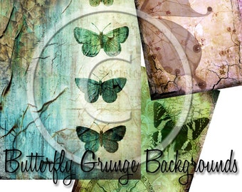 Digital Collage Sheet - Grungy Butterfly Backgrounds - sheet no.10 - ACEO, ATC - Buy Any 3 Three Dollar DIigital Items Get 1 Free