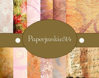 Pink and Orange Grunge  -12x12 -  Digital Scrapbook Papers - BUY Any 3 Three Dollar Digital Items Get 1 Free