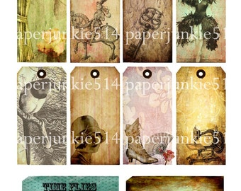 Grungy Tags Digital Collage Sheet 1  - Buy Any 3 Three Dollar DIigital Items Get 1 Free