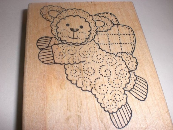 RESERVED for KnitOne123 Azad Earles - Lamb Angel - wood mounted rubber stamp