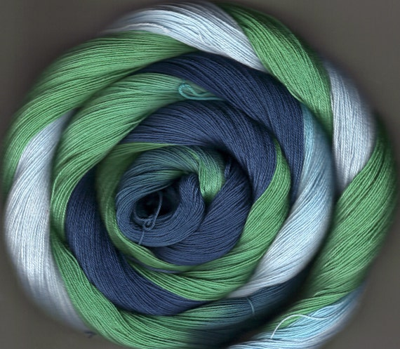 175 yards Hand-dyed Size 10 Cotton Crochet Thread Aiden Colorway
