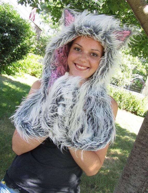 Faux Fur Grey &  Pink  Sparkle Chandelier Hat Hood Burningman Scoodie (Scarf / Hoodie)