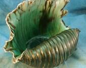 Bronze and Seafoam Salt Fired Shell
