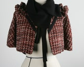 MOVING SALE   Small Medium Red Riding Haute English Red Tweed Capelet