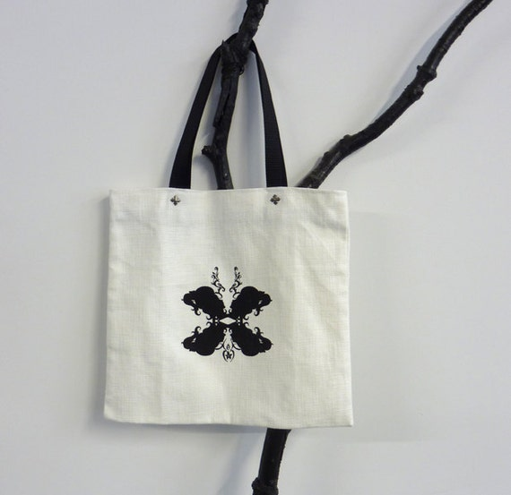 MOVING SALE  White and Black Butterfly Inspired Cameo Canvas Tote size medium (vegan friendly)
