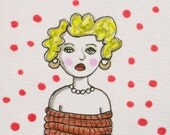 All Tied Up   Original ACEO drawing