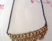 Bronze Antique Lace necklace on sterling silver oxidized chain