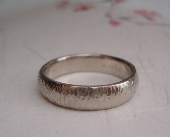 White Gold Bamboo Wedding band- 14k band ring with bamboo inspired texture