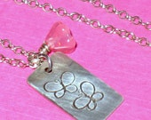 Butterfly Stamped Silver Tag and Flower Charm on Sterling Silver Chain Handmade Necklace