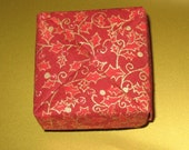 Holiday Gift Box - Small Square Origami Box - Holly Print in Red and Gold