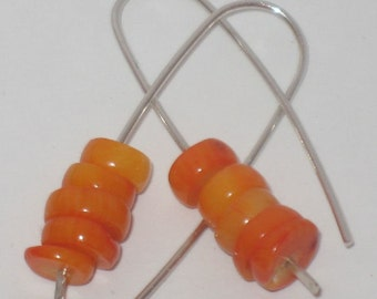 Stacked Orange Coral Heishi Bead Earrings, sterling silver pull through